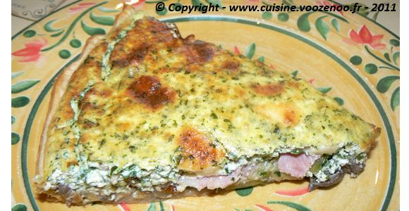 Tarte fromagère aux champignons et courgettes slider