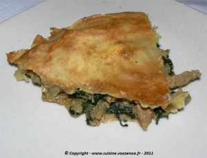 Pastilla aux aiguillettes de canard et aux blettes presentation