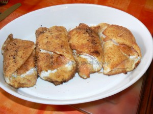 Roules de carrelet et saumon fume panes fin