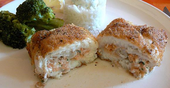 Roules de carrelet et saumon fume panes une