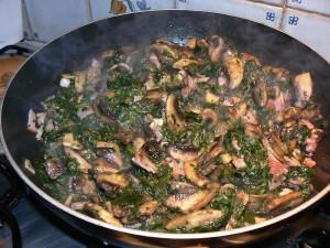 Spaghettis aux épinards, champignons et lardons etape4
