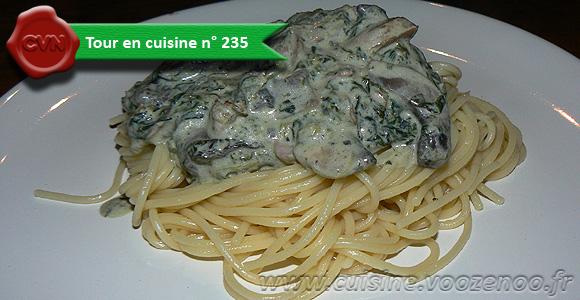 Spaghettis aux epinards, champignons et lardons une