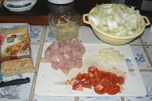 Wok de chou chinois (psé-tai) au poulet et gingembre etape2