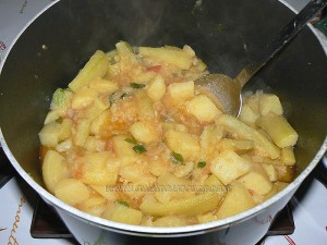 Courgettes longues et pommes de terre cucuzza fin
