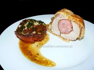 Filet mignon de porc à la saucisse fumé en feuilleté presentation