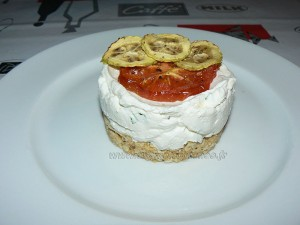 Cheesecake salé, legumes et basilic fin