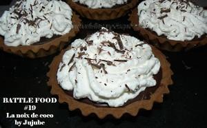 Tartelettes choco-coco, chantilly à la crème de coco presentation