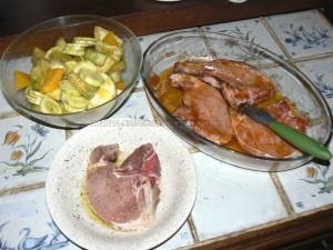 Côtes de porc et legumes marines etape 1