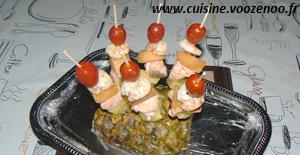 Brochettes de la mer aux fruits une