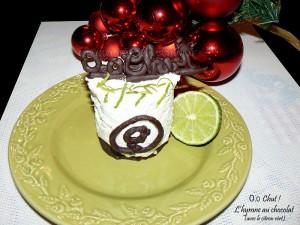 Cheesecake au citron vert et chocolat  presentation