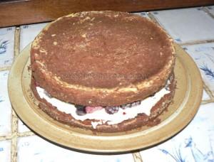 Gâteau au chocolat, finger et fruits rouges pour paques etape5
