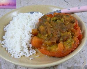 Tomates farcies à l'indienne vegetarienne fin
