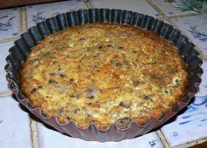 Quiche sans pate, oignons, lardons et champigons fin