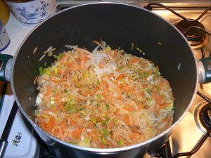 Pâtes comme un risotto aux légumes et viande etape2