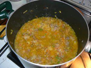 Pâtes comme un risotto aux légumes et viande etape3
