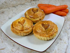 Mini tourte aux carottes à l'orange et veau presentation