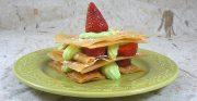 Millefeuille croustillant aux fraises, crème à la menthe