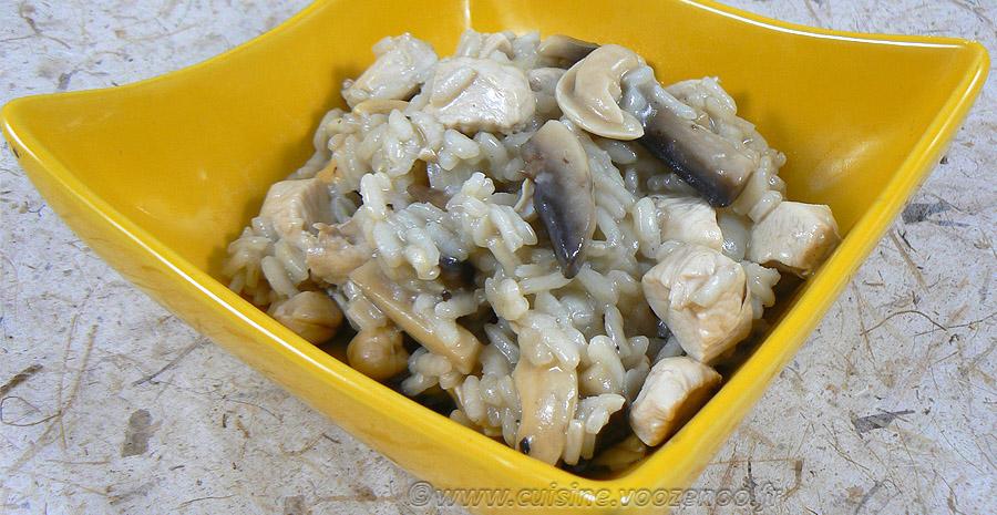 Risotto au poulet, champignons et noix de cajou slider