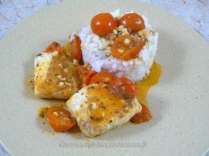 Dos de cabillaud, sauce tomates cerises presentation