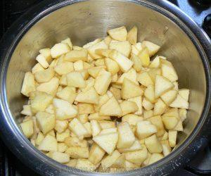 Flan aux pommes, amandes et Calvados etape1