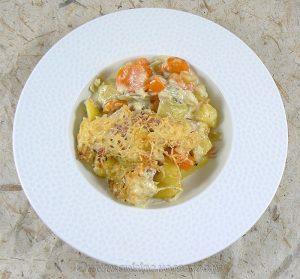 Gratin de pommes de terre, carottes, poireaux et Fourme d'Ambert presentation