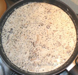 Linguines aux lentilles, champignons des bois et crème etape3
